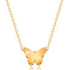 Złoty 14K naszyjnik - lśniący łańcuszek, mały motyl o gładkiej powierzchni