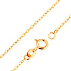 Łańcuszek z żółtego 9K złota - gładkie owalne ogniwa, splot Rolo, 500 mm