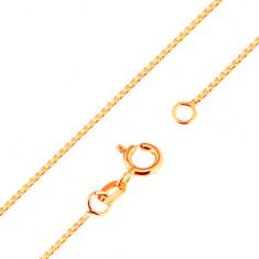 Lśniący złoty łańcuszek 375 - gęsto połączone kwadratowe ogniwa, 500 mm