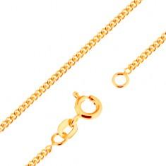 Łańcuszek z żółtego 9K złota - gęsto połączone płaskie owalne ogniwa, 500 mm