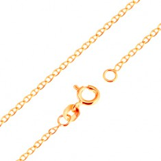 Złoty 9K łańcuszek - małe płaskie lśniące ogniwa przedzielone prostą linią, 500 mm