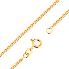 Złoty 18K łańcuszek - gęsto połączone płaskie owalne ogniwa, 500 mm