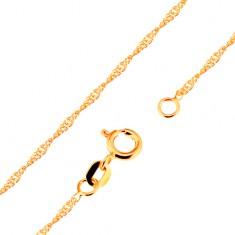 Łańcuszek z żółtego 9K złota - lśniące płaskie owalne ogniwa, 500 mm