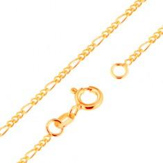 Złoty łańcuszek 9K - splot Figaro, trzy owalne i jedno podłużne ogniwo, 500 mm