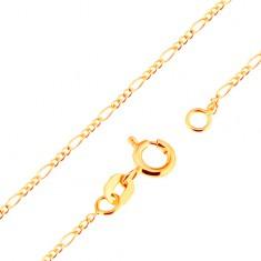 Złoty 18K łańcuszek - splot Figaro, trzy owalne i jedno podłużne ogniwo, 500 mm