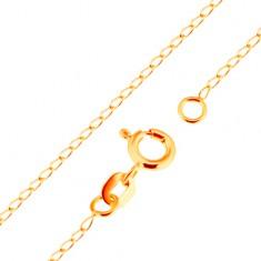 Łańcuszek z żółtego 18K złota - lśniące płaskie owalne ogniwa, 500 mm