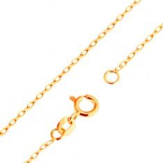 Złoty 9K łańcuszek - gładkie owalne ogniwa, splot Rolo, 500 mm