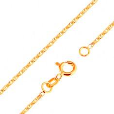 Błyszczący łańcuszek z żółtego 18K złota - błyszczące połączone owalne ogniwa, 500 mm