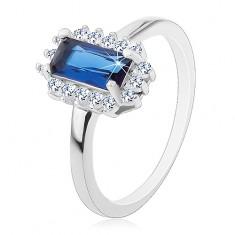 Rodowany pierścionek, srebro 925, prostokątna niebieska cyrkonia, bezbarwna cyrkoniowa oprawa
