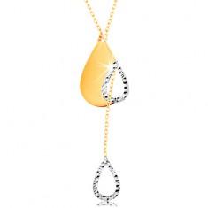 Złoty 14K naszyjnik - subtelny łańcuszek, łza z wycięciem i wiszący zarys kropelki