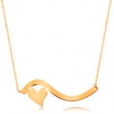 Naszyjnik z żółtego 14K złota - fala i małe symetryczne serduszko, subtelny łańcuszek