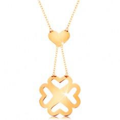 Naszyjnik z żółtego złota 585 - cienki łańcuszek, serduszko i powycinana czterolistna koniczynka