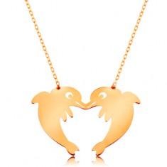 Złoty naszyjnik 585 - subtelny łańcuszek, dwa delfiny tworzące zarys serca