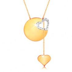 Złoty naszyjnik 585 - subtelny łańcuszek, lśniące płaskie koło, kontur serca z białego złota