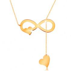 Naszyjnik z żółtego złota 585 - cienki łańcuszek, płaski symbol nieskończoności i serduszka