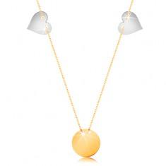 Złoty naszyjnik 585 - cienki łańcuszek, lśniący płaski okrąg, dwa serca z białego złota