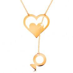 Naszyjnik z żółtego 585 złota - kontur serca z serduszkiem i wiszącą rybką