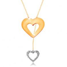Naszyjnik z 585 złota - subtelny łańcuszek, zarys serca i wiszącego serduszka