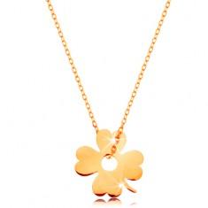 Złoty 14K naszyjnik - błyszczący cienki łańcuszek, zawieszka - czterolistna koniczynka na szczęście