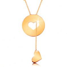 Naszyjnik z żółtego 585 złota - kółko z serduszkowym wycięciem i wiszącym sercem