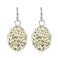 Kolczyki ze srebra 925 - duże jasnożółte owale wyłożone cyrkoniami