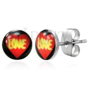 Stalowe kolczyki - serce LOVE