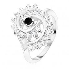 Pierścionek srebrnego koloru, duża spirala z przezroczystych cyrkonii z czarnym środkiem