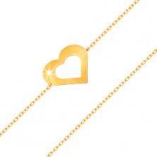 Bransoletka z żółtego 585 złota - subtelny łańcuszek, płaski zarys serca, lśniąca gładka powierzchnia
