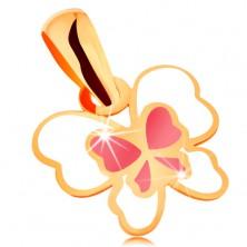 Zawieszka z żółtego 585 złota, motyl ozdobiony białą i różową emalią