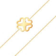 Bransoletka z żółtego złota 585 - cienki łańcuszek, powycinana czterolistna koniczynka