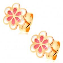 Kolczyki z żółtego złota 585, różowo-biały emaliowany kwiatek, sztyfty