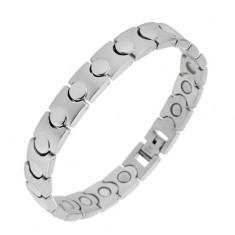 Stalowa bransoletka srebrnego koloru - magnetyczna, lśniąco-matowe ogniwa