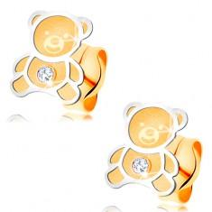 Złote kolczyki 585 - dwukolorowy miś o matowej powierzchni, lśniący kontur