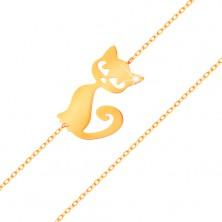 Złota bransoletka 585 - subtelny błyszczący łańcuszek, płaska zawieszka - kotek