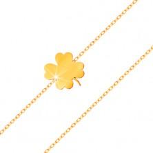 Bransoletka z żółtego 585 złota - lśniąca koniczynka, cienki łańcuszek z owalnych ogniw