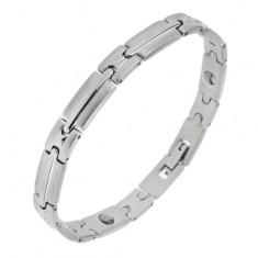 Magnetyczna stalowa bransoletka srebrnego koloru, lśniąco-matowe ogniwa z pasem pośrodku