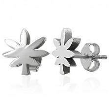 Stalowe kolczyki srebrnego koloru - liść marihuany