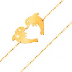 Złota bransoletka 585 - dwa delfiny tworzące kontur serduszka, subtelny łańcuszek