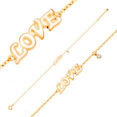 Bransoletka z żółtego 585 złota - bezbarwna cyrkonia i biały emaliowany napis LOVE