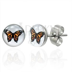 Stalowe kolczyki, pomarańczowy motyl