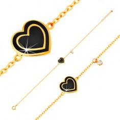 Bransoletka z żółtego złota 585, zawieszki - cyrkonia i serce z czarną emalią