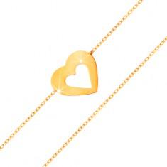 Bransoletka z żółtego 585 złota - subtelny łańcuszek, płaskie serce z wycięciem w środku