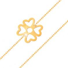 Bransoletka z żółtego złota 585 - symbol szczęścia czterolistna koniczynka z wycięciami, lśniący łańcuszek
