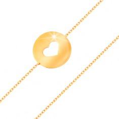Złota 585 bransoletka - kółko z serduszkowym wycięciem o płaskiej lśniącej powierzchni