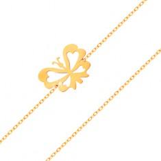 Bransoletka z żółtego 585 złota - subtelny łańcuszek, płaski motylek z wyciętymi skrzydłami