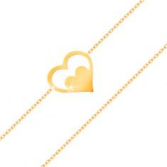 Bransoletka z żółtego 14K złota - kontur serca z serduszkiem, cienki łańcuszek