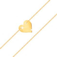 Bransoletka z żółtego 585 złota - małe symetryczne płaskie serce, subtelny łańcuszek