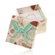 Pudełeczko na pierścionek, zawieszkę lub kolczyki, beżowa z kolorowymi wzorami, turkusowa kokardka