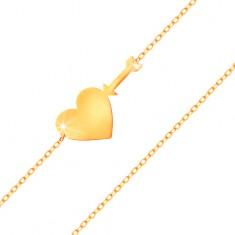 Złota bransoletka 585 - cienki błyszczący łańcuszek, lśniące płaskie serce i strzała