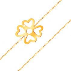Bransoletka z żółtego złota 585 - koniczynka na szczęście z wycięciami, lśniący łańcuszek
